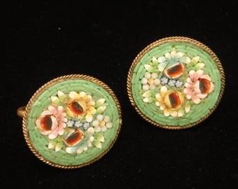 Mosaic Earrings Green Vintage
