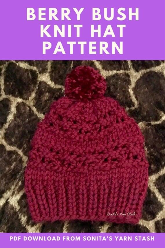 Raspberry Stitch Knit Hat Pattern : Berry Bush Knit Hat Beanie PATTERN PDF ONLY Adult Child