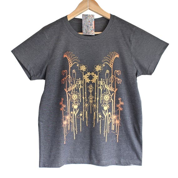 WILD FLOWERS t shirt. Grey Marle T shirt. Floral print in gold and copper. Iridescent print t-shirt.