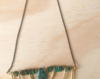 Geometric turquoise necklace
