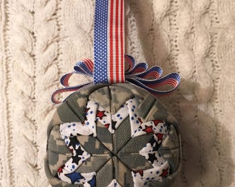 ABU Quilted Christmas Ornament- Blue Stars