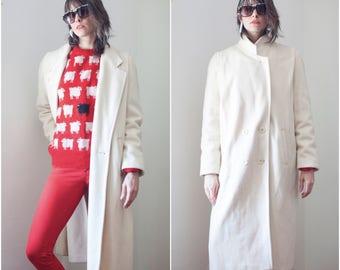1980s Ivory Wool Coat // Long Blazer Minimalist Overcoat sz L / XL