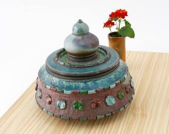 Handmade Blue and Copper Raku Jar #05, Ceramic Raku Jar, Lidded Pottery Jar, Ceramic Urn