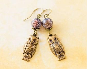 Earthy Woodland Owl Charm Earrings with Brown Stone Beads, Owl Jewelry, Bird Jewelry