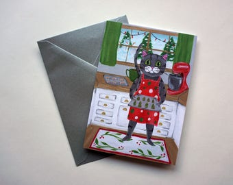 Cat Baking Cookies Holiday Card, Grey Tabby Cat Christmas Card, Holiday Cookies, Cat Christmas Card by Amber Maki