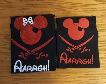 Custom Disney Family Matching Shirts Mickey Mouse Pirate Inspired with Glitter option Available/Pirate ARRAGH!/Disney Cruise Pirate Night
