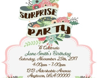 Surprise Party Invitation - Customized