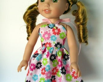 Handmade 14.5 inch doll clothes- Pink Multi Colored Floral Sundress made to fit 14.5 inch dolls such as Wellie Wishers