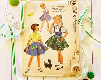 McCall's 1955 Vintage Sewing Pattern for Size 10 Skirt/Vest/Petticoat