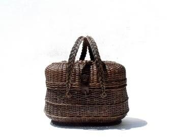 Antique French Basket hand weave Wicker Monogram Leather fastener double handles Napoleon