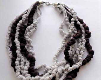 Knotted fabric necklace  soft huge scarf LIGHT GREY and  chocolate BROWN