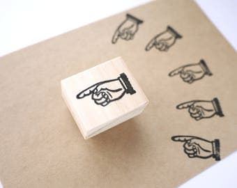 Rubber stamp, Pointing sign, Point finger rubber stamp, Antique point finger, Retro style, Japanese stationery