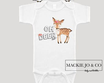 Oh Deer Little Deer with Flowers and Feathers Boho Girls Bodysuit Bohemian