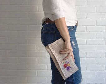 Autumn Beige Repurposed Clutch with Embroidery, Recycled Clutch, Upcycled Bag, Handbag, Handmade Clutch