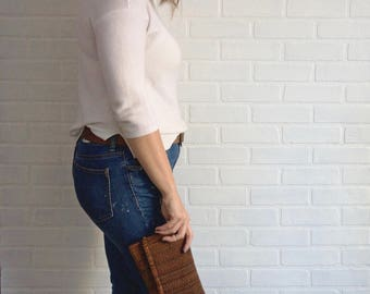 Autumn Brown Repurposed Clutch with Embroidery, Recycled Clutch, Upcycled Bag, Handbag, Handmade Clutch