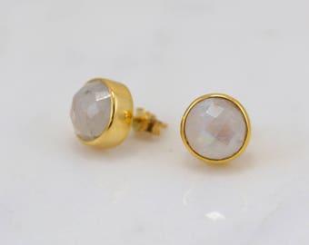 Rainbow Moonstone Stud, White Gemstone Stud Earring, Birthstone Post Stud, Everyday Stud, Gemstone Stud, Gold Stud, Sterling Silver Stud