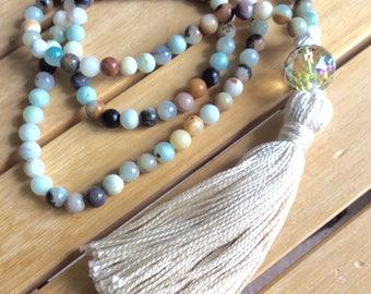 108 Bead, 8 mm Amazonite gemstone and 18 mm crystal Yoga and Meditation Mala with tassel