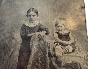 Large VictorianTintype Photo - Two Creepy Children - Gothic Decor