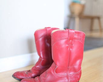 vintage red leather western cowboy boots womens 8
