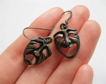 Theater Happy Sad Masks Earrings Sterling Silver