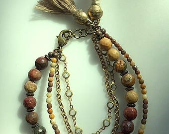 Brown Tan Brass Gold and Crystal Chain Multistrand Tassel Bracelet - Earthtone Jasper Bracelet - Picture Jasper