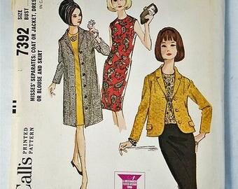 Vintage McCall's 7392 Coat Jacket Dress Blouse Skirt Sewing Pattern 1964 Uncut Size 14 bust 34