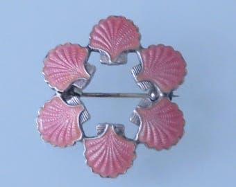 Vintage mid century Volmer Bahner Denmark sterling silver pink guilloche enamel sea shell pin brooch