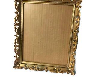 "Gold Tone Metal Picture Frame Vintage Hollywood Regency Ornate Gold Tone Metal Picture Frame, 11.5"" x 10"""