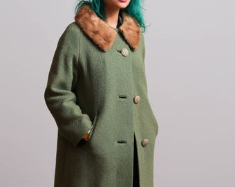 1960s Minty Sage Green Boucle Shift Swing Coat with Mink Collar - Mad Men Style - Mod • S/M