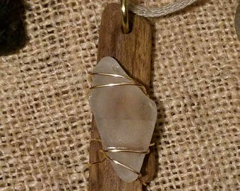 Driftwood & Sea Glass Wire Wrapped Necklace