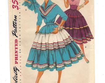 1950s Simplicity 4916, Misses' Squaw Skirt, Cummerbund, Squaw Blouse, UNCUT FF Sewing Pattern, Size 16 Bust 34