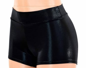 Midrise Black Mystique Metallic Spandex Mid Rise Booty Shorts - 154708
