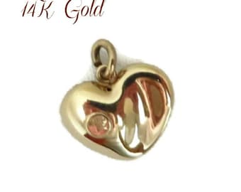 14K Gold Puffy Heart Pendant, Yellow Gold Estate Antique Love Heart Charm