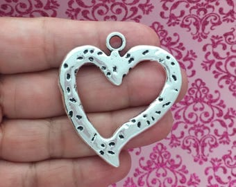 2 Silver Hammered Open Heart Charm 47x43mm by TIJC SP1564