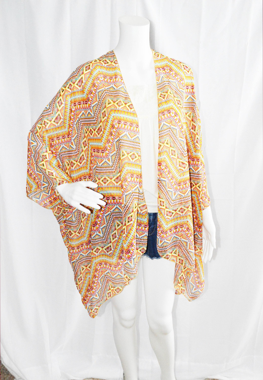 Tribal Kimono Cardigan/ Modern Kimono / Lightweight Aztec Wrap ...