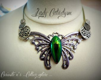 Gothic necklace, entomology, insect art