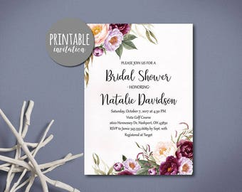 Floral Bridal Shower Invitation, Fall Bridal Shower Invitation Printable Bridal Shower Invitation Pink Burgundy Bridal Shower Invitation