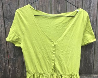 90s Lime Green Jumpsuit