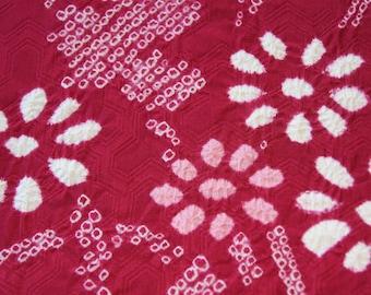 Shibori Flower/Maroon Kimono fabric / Japanese Silk Kimono fabric