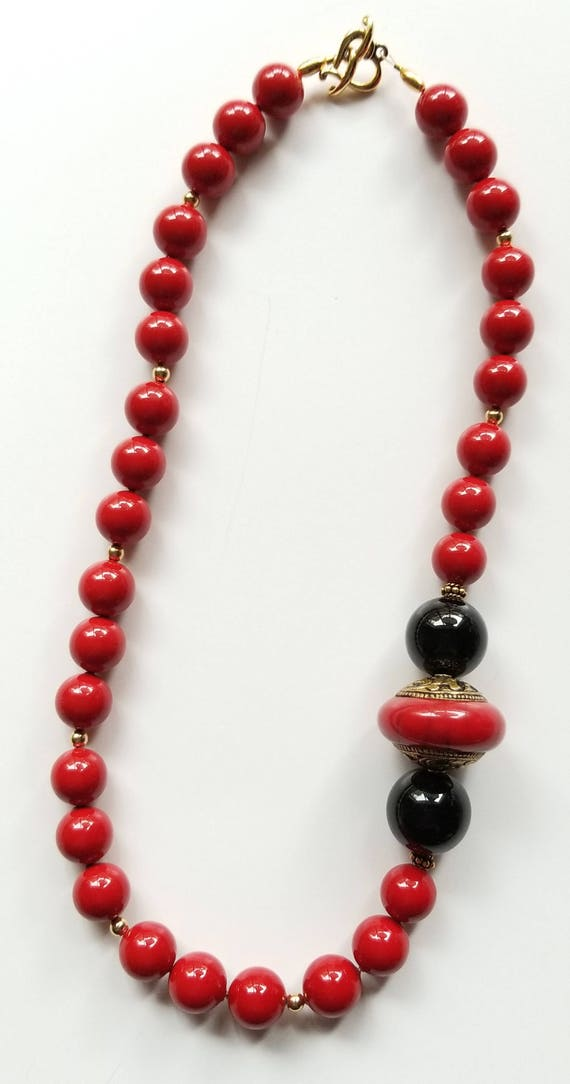 Red Necklace, Mother of Pearl Necklace, Boho Necklace, Black Necklace, Statement Necklace