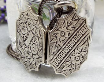Antique Victorian Sterling Silver and Metal Aesthetic Flower Locket Necklace