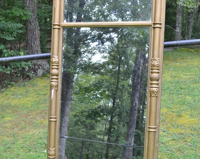 Vintage Gold Mirror Large Rectangular Painted Wood Chippy Antique Mirror Victorian Style Wall Decor PanchosPorch