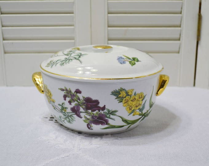 Vintage Spode Stafford Flowers Covered Casserole Bowl with Lid Floral Alyssum Cenothera Serapias English Bone China Panchosporch