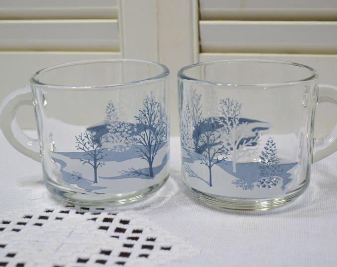 Vintage Glass Coffee Mug Set of 2 Blue White Winter Scene Anchor Hocking Holiday Kitchen Gift PanchosPorch