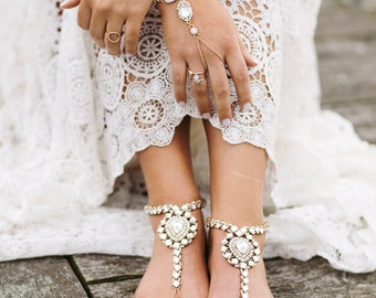 Euphoria Barefoot Sandals Wedding Anklet Beach Wedding Sandals Rhinestone Foot Jewelry Gold Anklet Slave Bracelet Ankle Bracelet for Bride