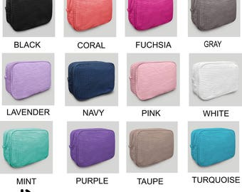 Large Personalized Waffle Weave Cosmetic Bag, Make Up Bag, Gift For Brides, Bridesmaids, gift for women, sorority, FREE monogram, 10 colors