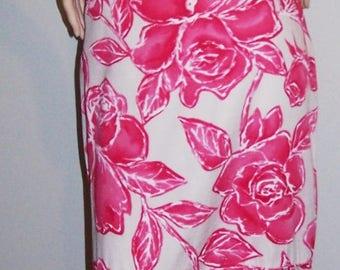 Vintage 1960-70's MALIHINI HAWAII Maxi Dress Sz M Hot-Pink & White Tropical Floral One-Shoulder Mermaid Hem