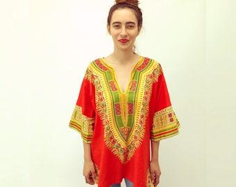 Nicobar Dashiki Blouse // vintage 60s 70s boho ethnic cotton 1970s dress Indian kaftan caftan hippie hippy tunic orange // O/S
