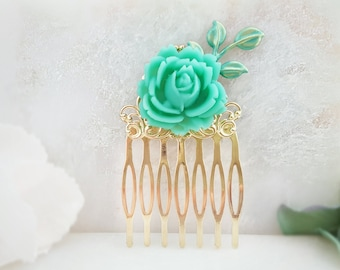 Green Hair Comb - Rose Hair Comb - Aquamarine Hair Comb - Teal Leaf Hair Comb - Gold Bridesmaid Hair Comb - Turquoise Floral Haircomb H2057