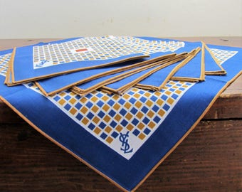 Napkins set / tea towels 8 pieces with geometrical print and YSL logo